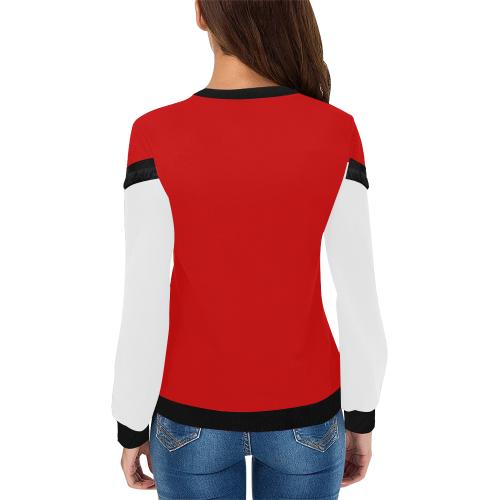 hOPE gIRL hANDS RED Women's Fringe Detail Sweatshirt (Model H28)