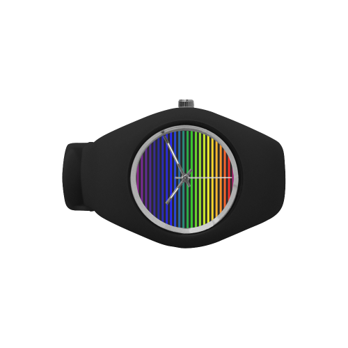 Rainbow Striped Pattern Simple Style Candy Silicone Watch (Model 315)