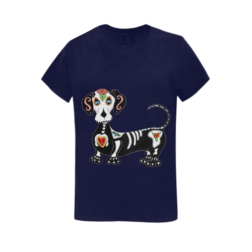 Dachshund Sugar Skull Navy Blue Women's Heavy Cotton Short Sleeve T-Shirt