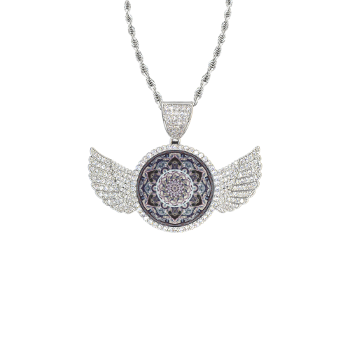 indian mandala 2 Wings Silver Photo Pendant with Rope Chain