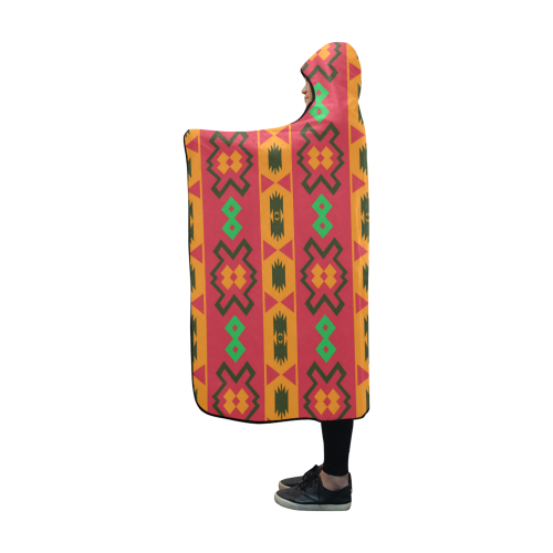 Tribal shapes in retro colors (2) Hooded Blanket 60''x50''