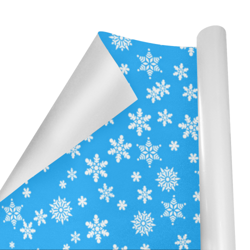 """Christmas White Snowflakes on Light Blue Gift Wrapping Paper 58""""x 23"""" (1 Roll)"""