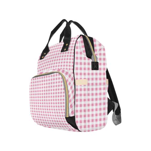 Petal Pink Gingham Multi-Function Diaper Backpack (Model 1688)
