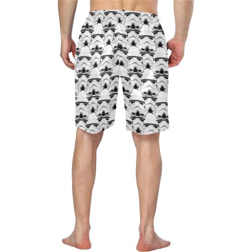 White Background Stormie Helmet Print Men's Swim Trunk Men's Swim Trunk (Model L21)