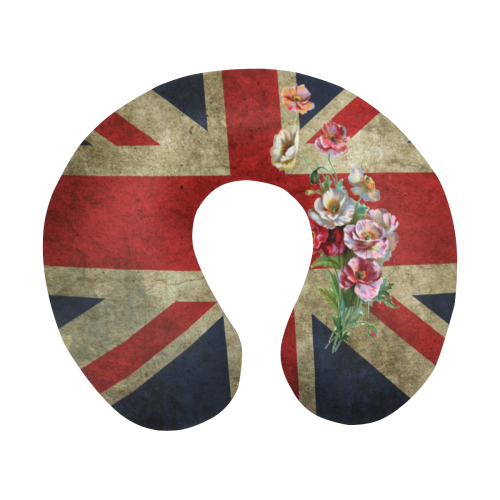 Flowery Union Jack U-Shape Travel Pillow