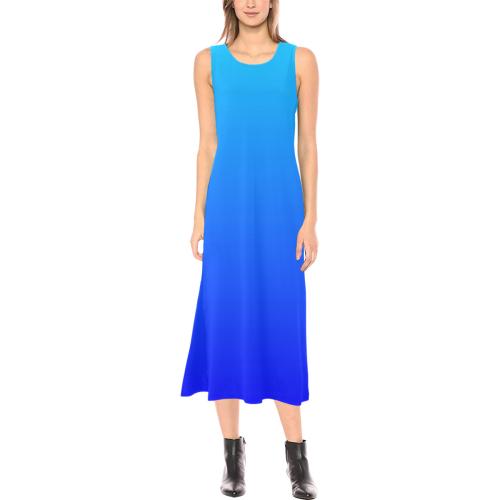 Blue Watercolor Gradient Phaedra Sleeveless Open Fork Long Dress (Model D08)