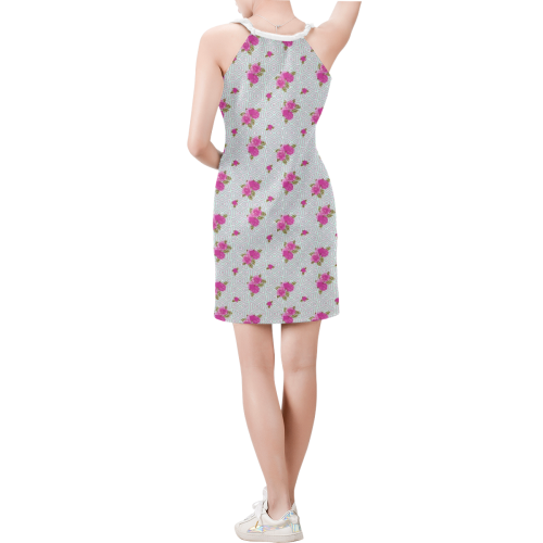 Roses and Pattern 1B by JamColors Sleeveless V Neck Dress (Model D55)