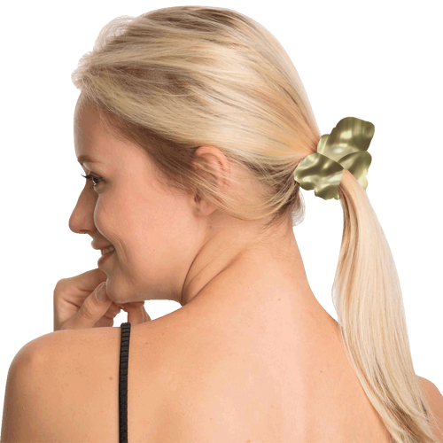 Gold Metallic All Over Print Hair Scrunchie
