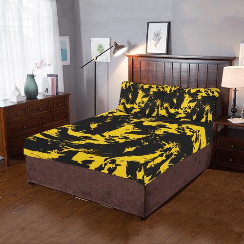 Black and Yellow Paint Splatter 3-Piece Bedding Set   ID ...