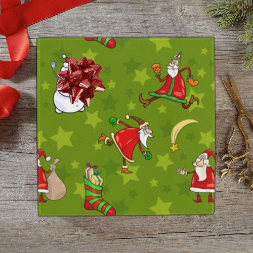 """Funny Christmas Santa Claus Snowman Pattern Gift Wrapping Paper 58""""x 23"""" (1 Roll)"""