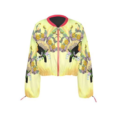 Toucan with flowers Cropped Chiffon Jacket for Women (Model H30)