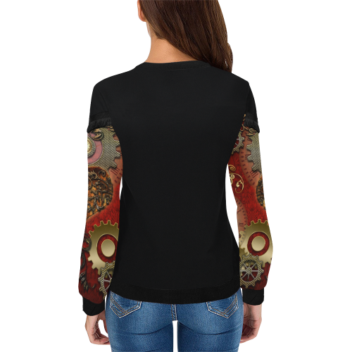 Steampunk, awesome glowing hearts Women's Fringe Detail Sweatshirt (Model H28)