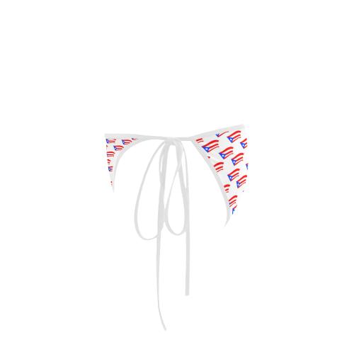 Puerto Rican Flags White Custom Bikini Swimsuit Bottom
