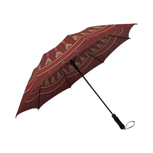 Night Arrows Maroon Semi-Automatic Foldable Umbrella (Model U05)