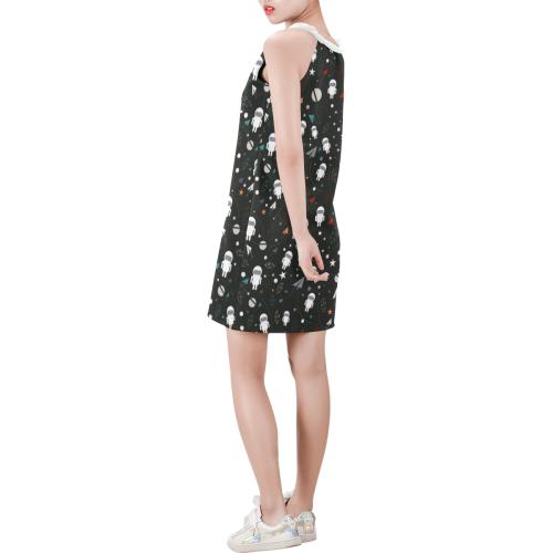 cartoon astronaut Sleeveless V Neck Dress (Model D55)