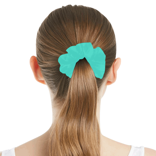 color turquoise All Over Print Hair Scrunchie