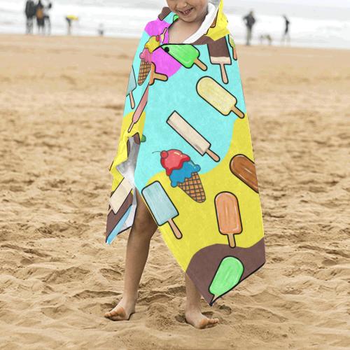 Ice Cream Treats Illustration Kids' Hooded Bath Towels
