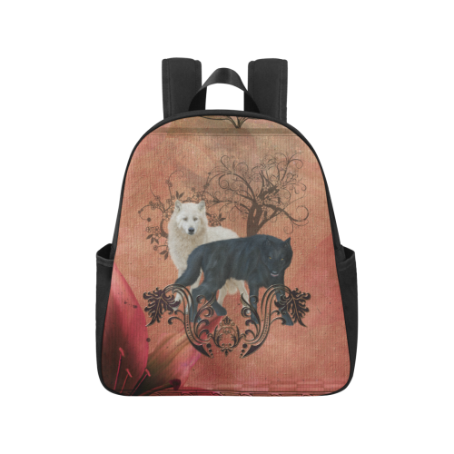 Awesome black and white wolf Multi-Pocket Fabric Backpack (Model 1684)