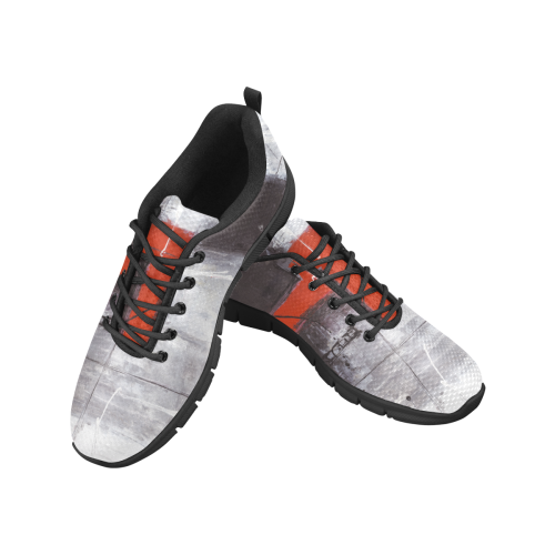 Black & red Women's Breathable Running Shoes (Model 055)