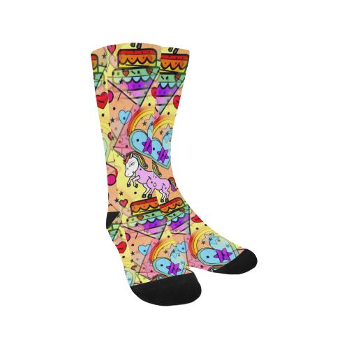 Unicorn Popart by Nico Bielow Trouser Socks (For Men)