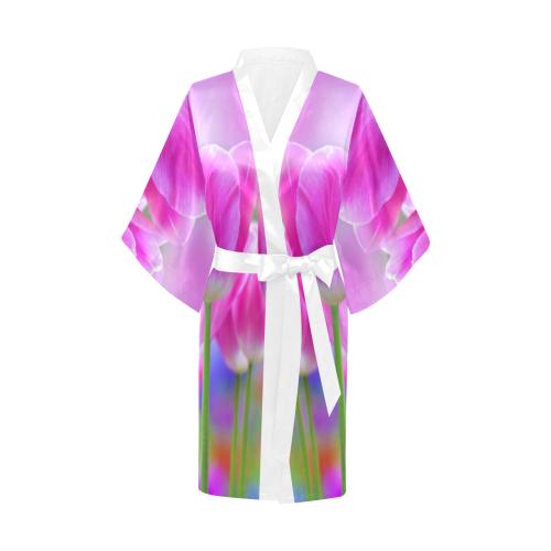 Pink Tulips Kimono Robe