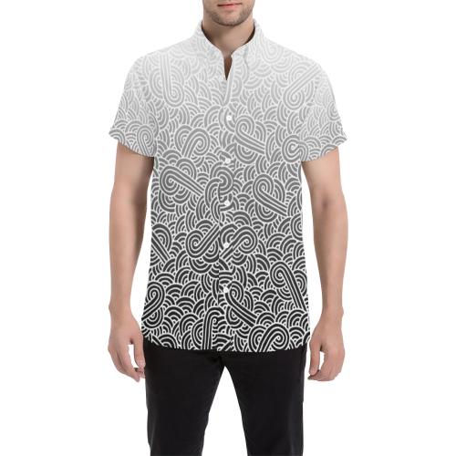 Ombré black and white swirls doodles Men's All Over Print Short Sleeve Shirt (Model T53)