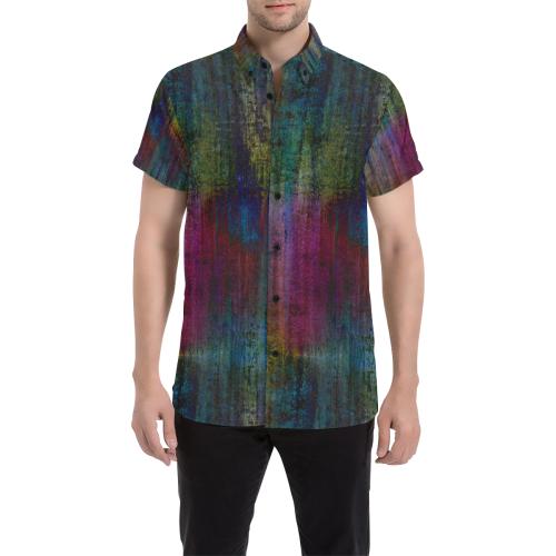 Dark Grunge Watercolor Brush Strokes Painting Men's All Over Print Short Sleeve Shirt (Model T53)