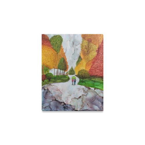 "A Rainy Walk to the Bus Canvas Print 8""x10"""
