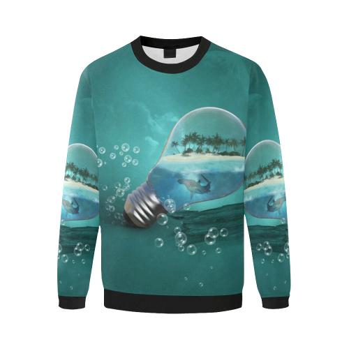 Awesome light bulb with island Men's Oversized Fleece Crew Sweatshirt/Large Size(Model H18)