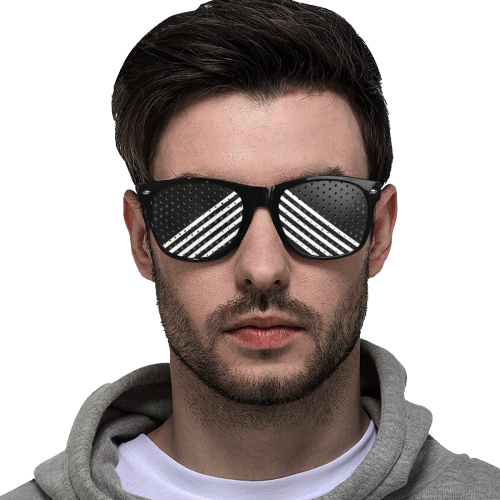Modern Black Background Diagonal Stripes Cut Custom Goggles (Perforated Lenses)