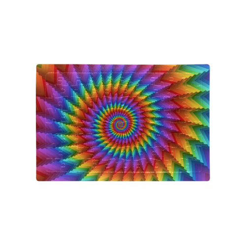 Psychedelic Rainbow Spiral Puzzle A4 Size Jigsaw Puzzle (Set of 80 Pieces)