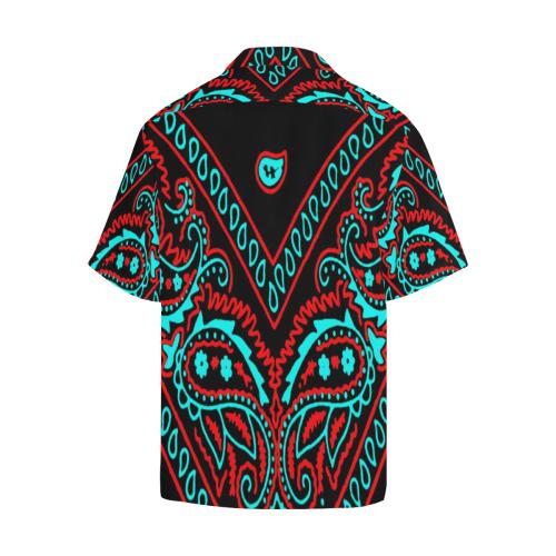 blue and red bandana version 1 Hawaiian Shirt (Model T58)