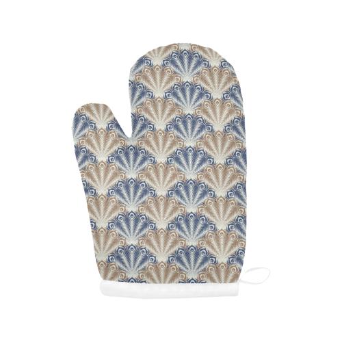 vintage scallop beige blue pattern Oven Mitt (Two Pieces)