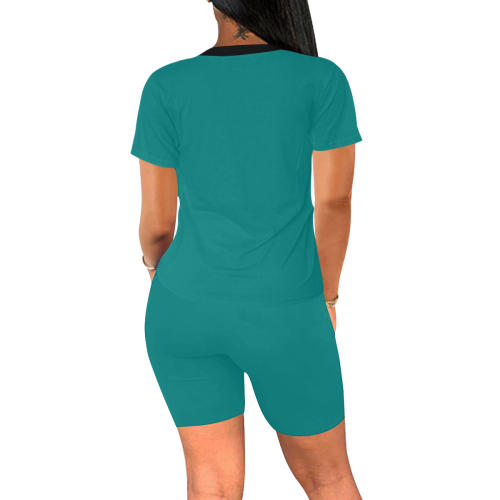 color teal Women's Short Yoga Set (Sets 03)