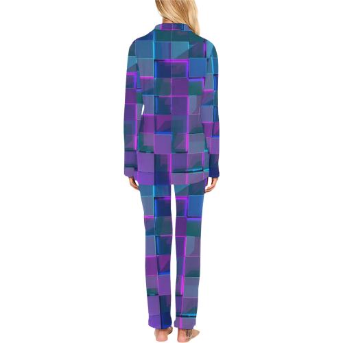 Prismic Glass Cubed Women's Long Pajama Set (Sets 02)