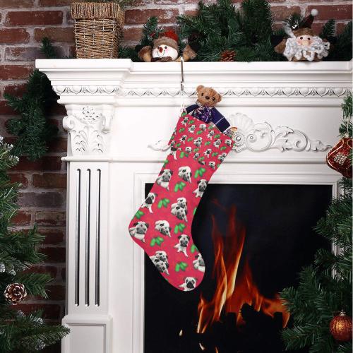 Pugs and Mistletoe on Christmas Red Christmas Stocking