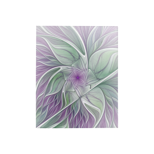 "Flower Dream Abstract Purple Sea Green Floral Fractal Art Quilt 40""x50"""