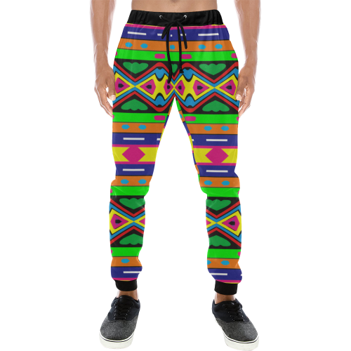Distorted colorful shapes and stripes Men's All Over Print Sweatpants (Model L11)