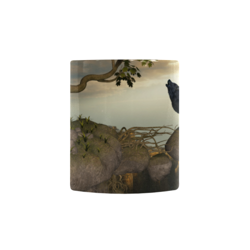 The lonely wolf on a flying rock Custom Morphing Mug (11oz)