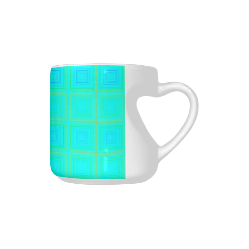 Baby blue yellow multicolored multiple squares Heart-shaped Mug(10.3OZ)