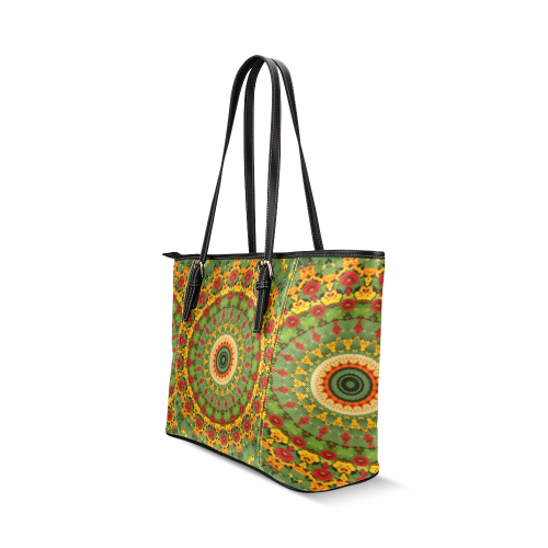 Garden Mandala Leather Tote Bag/Small (Model 1640)