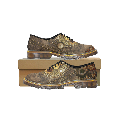 Steampunk, wonderful owl,clocks and gears Women's Wholecut Dress Shoes/Large (Model 4026)