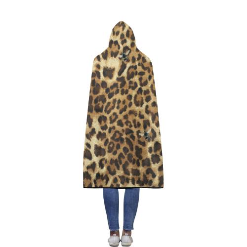 Buzz Leopard Flannel Hooded Blanket 56''x80''