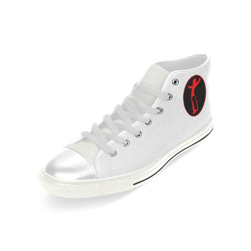 DW wht red remix Men's Classic High Top Canvas Shoes (Model 017)