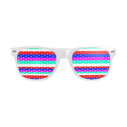 Colored Stripes - Fire Red Royal Blue Pink Mint Wh Custom Goggles (Perforated Lenses)