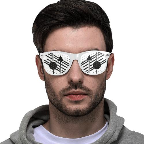 Black Geometric Art Stripes Triangle Dot Custom Goggles (Perforated Lenses)