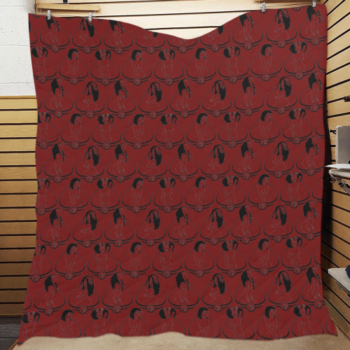 "1890s Burly-Q Red Quilt 70""x80"""
