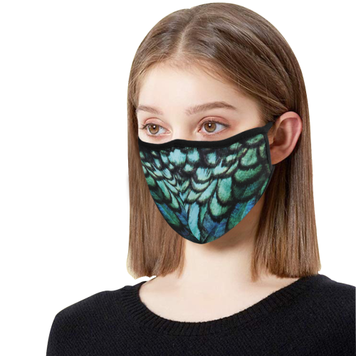 blue feathered peacock animal print design community face mask 3D Mouth Mask (15 Filters Included) (Model M03) (Non-medical Products)