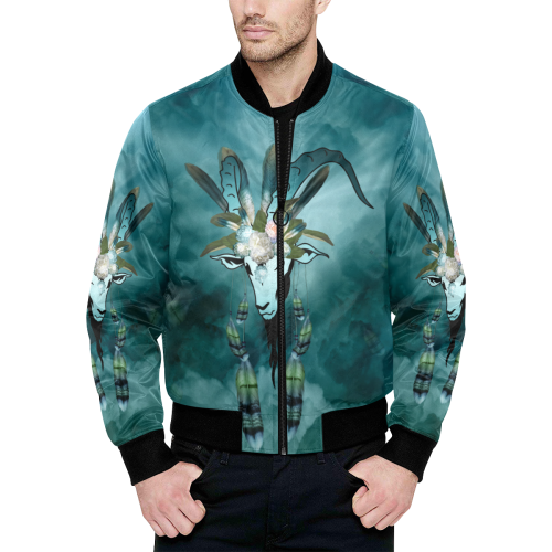 The billy goat with feathers and flowers All Over Print Quilted Bomber Jacket for Men (Model H33)