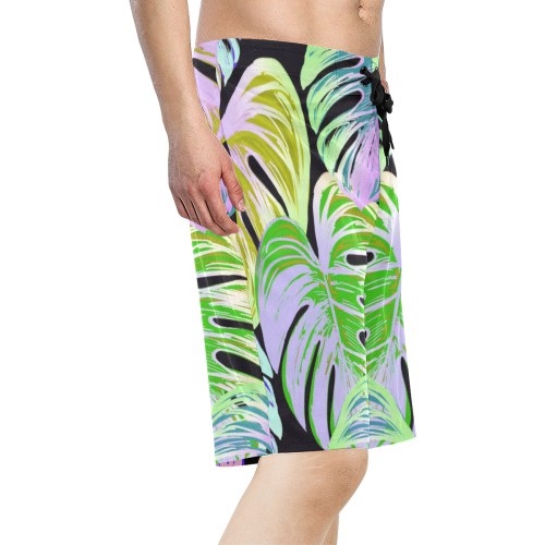 Pretty Leaves C by JamColors Men's All Over Print Board Shorts (Model L16)